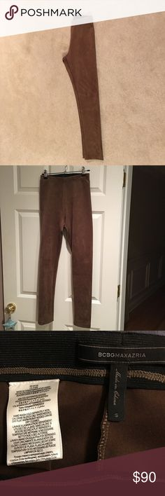 SUEDE LEGGINGS Worn once. Brown suede leggings, very flattering. I am a size 6 and these fit. Perfect condition BCBGMaxAzria Pants Leggings