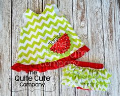 Girls CustomChevron Ruffle Swing Back Top with Watermelon Applique and Ruffle Butt Bloomers on Etsy, $50.00