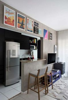 Planned Kitchen Small Apartment: How to Assemble, Tips 60 FOTOS . Small Apartments, Small Spaces, Kitchen Decor, Kitchen Design, Cuisines Design, Open Kitchen, Kitchen Small, Apartment Interior, Sweet Home