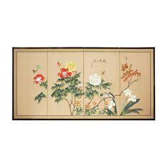 """24"""" Butterflies in The Garden 4 Panel Room Divider"""