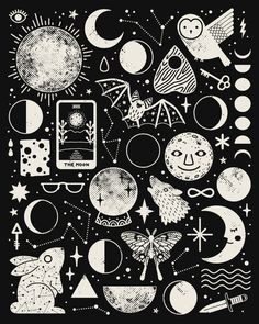 A magical moon-themed pattern. Black and white version.