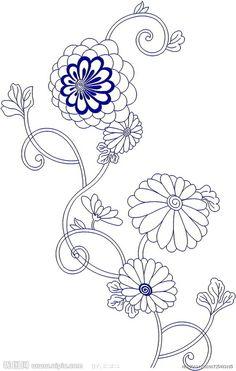 free japanese embroidery pattern transfer -- chrysanthemum flowers