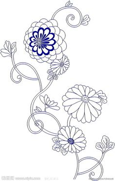 free japanese embroidery pattern transfer -- chrysanthemum flowers