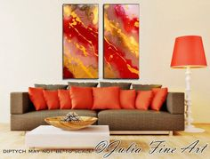 Diptych Painting, Abstract Art, Canvas, Modern Print, Red, Gold, Copper, Yellow, Orange, Colorful Wall Decor, Julia Apostolova by JuliaApostolova on Etsy https://www.etsy.com/listing/159910262/diptych-painting-abstract-art-canvas