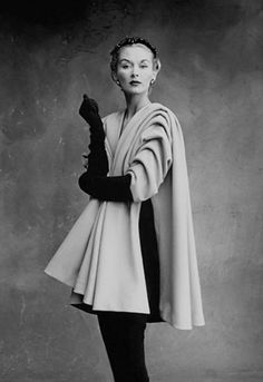 Karl Lagerfeld told WWD his most treasured Penn print is a photo of his wife, Lisa Fonssagrives, in a look from the winter 1950 collection of Cristobal Balenciaga. Description from thefashioncult.com. I searched for this on bing.com/images