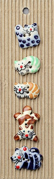 Saw these cat buttons in KnitSimple. They make me smile. From ButtonMad.com. L26 assorted cats