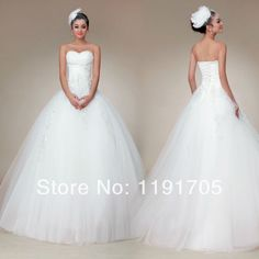 Free shipping Sweetheart Strapless Embroideried White Prom dress 2014 Ball Gown Floor Length Bridal Gowns 2014 New Arrival $190.00