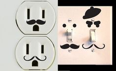 Vinyl Mustache Decor Set of 30 for Wall Outlets Lightswitches via Etsy. Could be easy to DIY too. Wall Outlets, Electrical Outlets, Silhouette Cameo Projects, Vinyl Projects, Fun Projects, My Room, Washi, Sweet Home, Diy Crafts