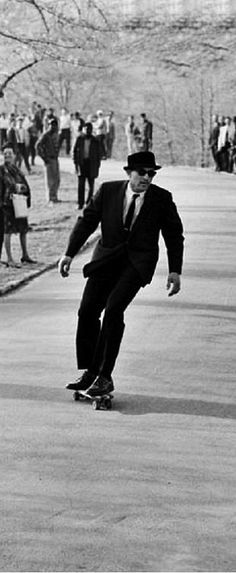 Gregory Peck rides a skateboard, c. 1960s..how awesome is that!? Who knew skateboards were around in the sixties?
