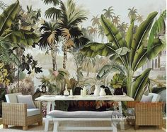 Stylish Southeast Asia green tropical plants wallpaper for walls. Banana leaves drawing non-woven wall mural for home or business. We ship free worldwide. Green Leaf Wallpaper, Wallpaper Wall, Plant Wallpaper, Cheap Wallpaper, Custom Wallpaper, Photo Wallpaper, Leaves Wallpaper, Botanical Wallpaper, Tropical Leaves