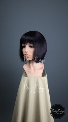 Dark Purple Black Wig /Short Straight Bob + Bangs/ Fashion Halloween Costume…