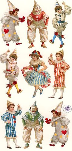 Victorian clown valentine stickers * 1500 free paper dolls at Arielle Gabriel's The International Paper Doll Society also at The China Adventure of Arielle Gabriel free paper dolls * Circus Art, Circus Theme, Vintage Circus, Vintage Pictures, Vintage Images, Images Victoriennes, Art Origami, Pierrot Clown, Circo Vintage