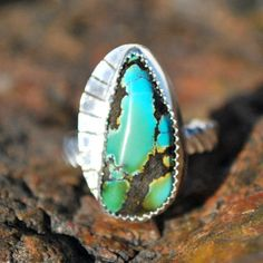 Turquoise Ring - Genuine Turquoise Ring - Sterling Silver Ring - Southwestern Ring - Artisan Jewelry - Silver Turquoise Ring -Size 8.25 Ring by EarthsBountyGems on Etsy