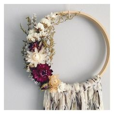 The Piper Dreamcatcher // bohemian decor // boho // dried flowers // floral wall hanging