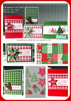 """Christmas Card Club, featuring the Quilted Christmas Suite. In person or """"To Go"""". 12 cards, 3 each of 4 designs. Includes 1/2 pack of designer series paper + a full pack of Stitched Felt embellishments. Michelle@MakingMemorieswithMichelle.com Stampin' Up! 2017"""