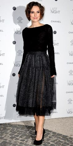 Keira Knightley walked the red carpet for Last Night in a Chanel pairing of a lightweight sweater and subtly translucent skirt.