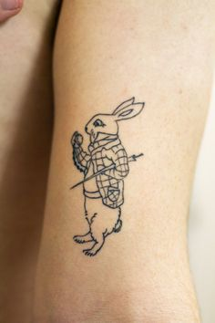 fuckyeahtattoos: The White Rabbit from Alice's Adventures in Wonderland done at Brainstorm