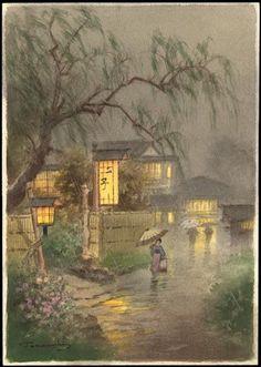Fukutaro Terauchi--Night rain under willows