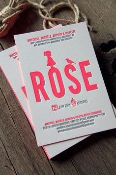 Faire-part de naissance pour Rose en pantone fluo 812U et gris - modèle Cocorico Letterpress personnalisable / Customizable baby girl birth announcement card in neon pink 812U and grey