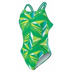 Nike Swim Jagged Geo Spider Back Tank Swimsuit also in Black, Purple, Blue, and Red - Altrec.com