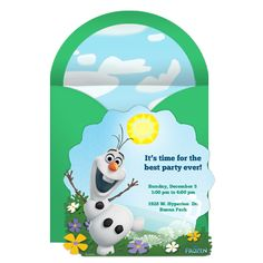 Frozen Olaf Party Online Invitation Get ready to do what snowmen do in Summer with this free Olaf-inspired online party invitation!