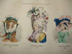"""COSTUME DE PARIS gravure coloriée """" Bonnet-Coiffure-Chapeau 1785/1787 """""""