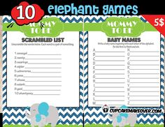 We've got you covered with theperfectbundle of baby shower games themed with a stylish and cute baby elephant.  DIY printable fun games. #cupcakemakeover