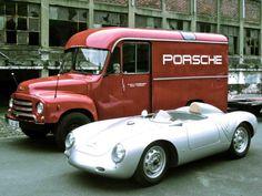 Porsche 550 and Opel Blitz transporter