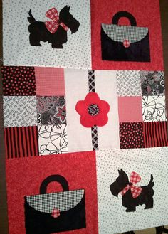 Scotties and purses quilt.  Kit available for order in May.