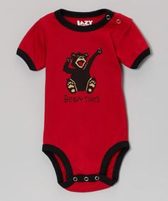 Take a look at this Brick Red 'Beary Tired' Bodysuit - Infant by Lazy One on #zulily today!