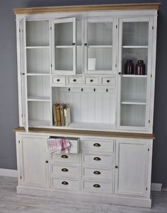 Kitchen cabinet Dresser cabinet WOOD white Country house Buffet cabinet Glass doors NEW: … - Best Kitchen Decoration 2019 Home Decor Kitchen, Home Decor Inspiration, Home Furnishings, Home, Cabinet, Farmhouse Style Kitchen, Wood Cabinets, Modern Kitchen Design, Home And Living