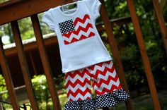 Girls Ruffle Capri Flag Set, Red Chevron and Navy Dot, Sizes 6Y to 12Y via Etsy