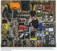 Packing for Everest - Picture of Renan Ozturk's camera and climbing gear for a Mount Everest expedition. Bushcraft Kit, Bushcraft Camping, Backpacking Gear, Camping Survival, Hiking Gear, Survival Kit, Survival Skills, Hiking Trips, Wilderness Survival