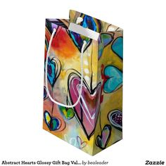Abstract Hearts Glossy Gift Bag Valentines Small Gift Bag