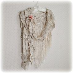 Long Crochet Scarf Infinity Shabby Boho made by auntcarriesattic
