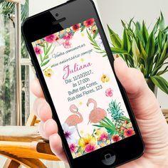 Convite Digital Flamingo e Abacaxi  Whatsapp promoção    ----------------------------------------------------  ATENÇÃO:  ----------------------------------------------------   Este produto não é um material impresso. O formato do produto é digital, ou seja, você recebe a arte por e-mail e imprime...