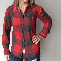 Hurley Plaid Flannel Top Hurley Red and Gray Plaid flannel top Pre-owned, great condition, no holes or stains. This is a size XS. Made of 100% cotton. Red and Gray in color- gray has a greenish undertone. Measurements: underarm to underarm flat across is approximately 17 1/2 inches. Back of neck to bottom of hem is approximately 25 inches. Hurley Tops Button Down Shirts