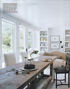 Darryl Carter {white rustic modern dining room} by recent settlers, via Flickr