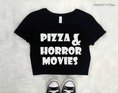 PIZZA & HORROR MOVIES black crop top goth clothing grunge