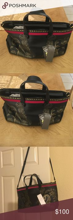NWT black Elliott Lucca leather handbag. Sold out in stores black Elliot Lucca handbag with gold designs and gold studs around trim that add elegance to this beautiful handbag. Long adjustable strap also included.  Elliott Lucca Bags Shoulder Bags