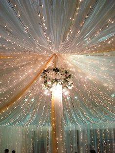 Wedding Ceiling Decorations, Diy Reception Decorations, Quince Decorations, Reception Ideas, Wedding Stage, Dream Wedding, Ceiling Draping, Fabric Ceiling, Wedding Venues