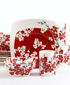 222 Fifth Dinnerware Mia Blossoms 16 Piece Set - Casual Dinnerware - Dining u0026 Entertaining  sc 1 st  Pinterest : asian dinnerware sets - pezcame.com