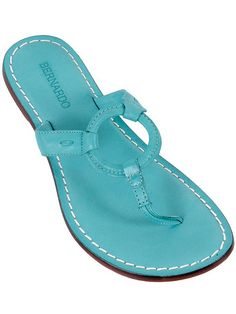 Bernardo Shoes - Bernardo Turquoise Leather Thong Sandals ...