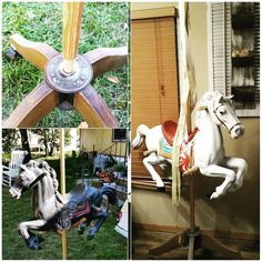 From a discarded vintage jumpy horse to a reminiscent carousel horse display. We started with a garage sale find of an old horse from a child's toy, a base fr… Buying A Manufactured Home, Horse Swing, Carosel Horse, Deco Mesh Garland, Vintage Milk Can, Bamboo Box, Carrousel, Old Baskets, Garage Sale Finds