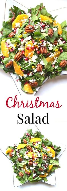 This Christmas Salad is packed full of nutrients and flavor with fresh oranges, pomegranate seeds, pecans, Swiss chard and blue cheese with a homemade dressing. www.nutritionistreviews.com Christmas Salad Recipes, Healthy Holiday Recipes, Healthy Salad Recipes, Winter Salad Recipes, Delicious Recipes, Healthy Food, Christmas Cooking, Xmas Food, Christmas Entertaining