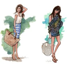 Inslee Haynes Fashion Illustrations... ❤ liked on Polyvore featuring sketches, drawings, art, backgrounds and illustrations