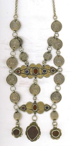 Silver coins, gilt silver and glass inlay, lt 19th c (archives sold Singkiang)