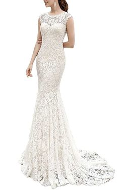 FAVORITE-Cardol Women's Lace Mermaid Wedding Dresses for Bride Backless Bridal Gowns at Amazon Women's Clothing store: