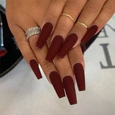 Do you want to have these fabulous nails as soon as possible? Take a look at our collection of best coffin nails design! Red Matte Nails, Matte Acrylic Nails, Acrylic Nails Coffin Short, Simple Acrylic Nails, Black Nails, Acrylic Nails For Fall, Long Red Nails, Matte Stiletto Nails, Matte Nail Colors