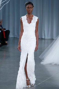 Streamlined v-neck: Monique Lhuillier bridal